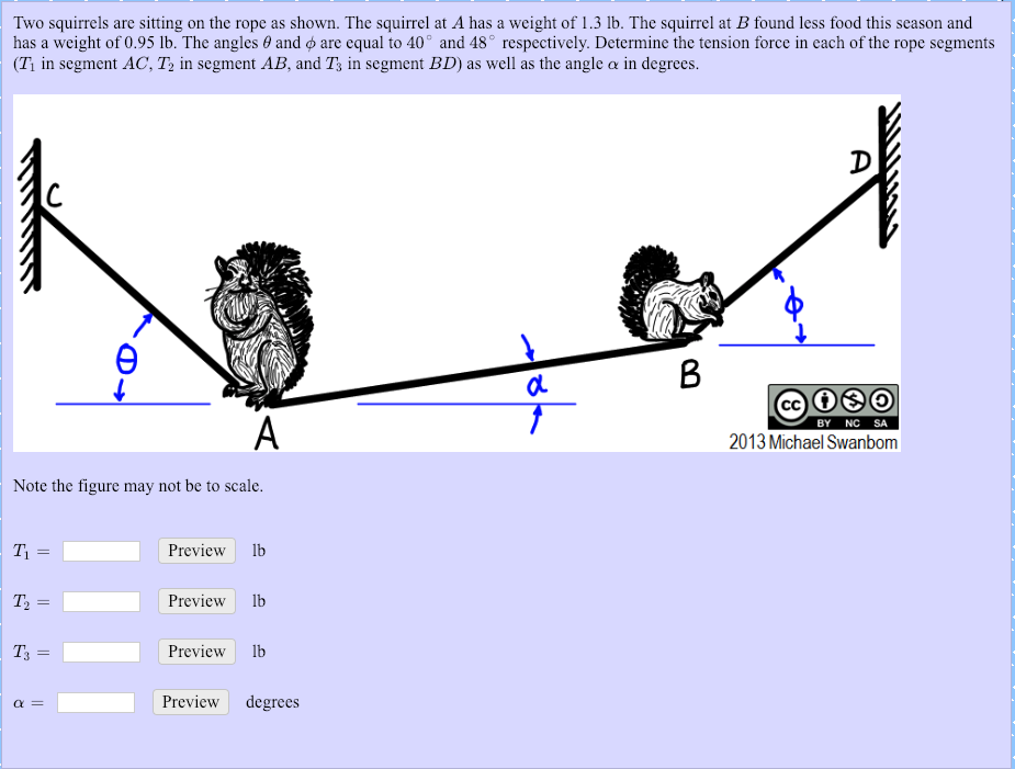 Two squirrels are sitting on the rope as shown. The squirrel at A has a weight of 1.3 lb. The squirrel at B found less food this season and has a weight of 0.95 lb. The angles θ and φ are equal to 40 and 48 r spectively. Determine the tension force in each of the rope segments (T, in segment AC, T, în segment AB, and T, in segment BD) as well as the angle α n degrees. BY NC SA 2013 Michael Swanbom Note the figure may not be to scale. Preview lb Preview lb Preview lb Preview degrees