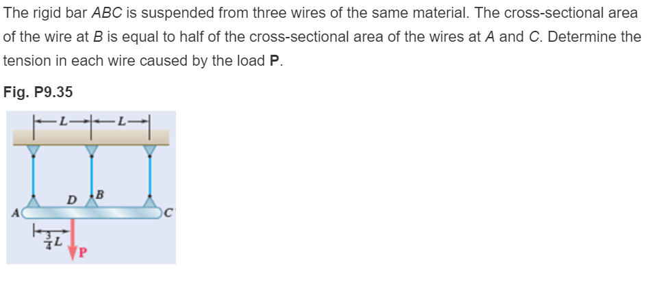 The rigid bar ABC is suspended from three wires of the same material. The cross-sectional area of the wire at B is equal to half of the cross-sectional area of the wires at A and C. Determine the tension in each wire caused by the load P Fig. P9.35