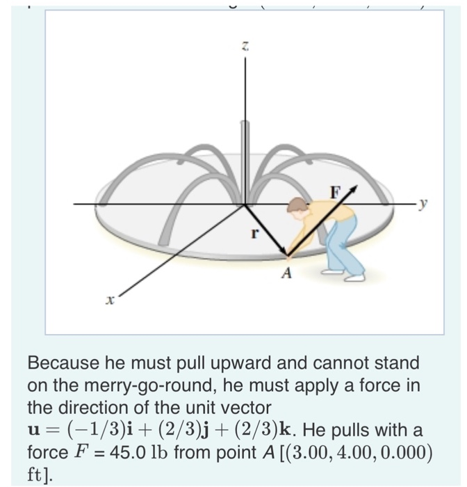Because he must pull upward and cannot stand on the merry-go-round, he must apply a force in the direction of the unit vector u (-1/3)i (2/3)j + (2/3)k. He pulls with a force F 45.0 lb from point A [ (3.00, 4.00, 0.000) ft].