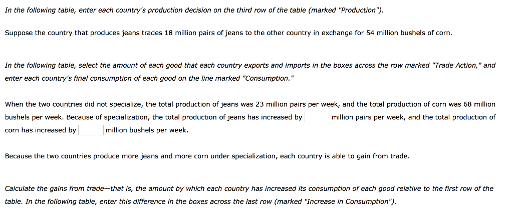 In the following table, enter each countrys production decision on the third row of the table (marked Production) Suppose the country that produces jeans trades 18 million pairs of jeans to the other country in exchange for 54 million bushels of corn In the following table, select the amount of each good that each country exports and imports in the boxes across the row marked Trade Action, and enter each countrys final consumption of each good on the line marked Consumption. When the two countries did not specialize, the total production of jeans was 23 million pairs per week, and the total production of corn was 68 million bushels per week. Because of specialization, the total production of jeans has increased by corn has increased by million pairs per week, and the total production of million bushels per week. Because the two countries produce more jeans and more corn under specialization, each country is able to gain from trade Calculate the gains from trade-that is, the amount by which each country has increased its consumption of each good relative to the first row of the table. In the following table, enter this difference in the boxes across the last row (marked Increase in Consumption)