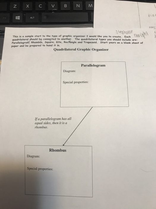 ALT stephati This is a sample start to the type of graphic organizer I would like you to create. Each W quadrilateral should