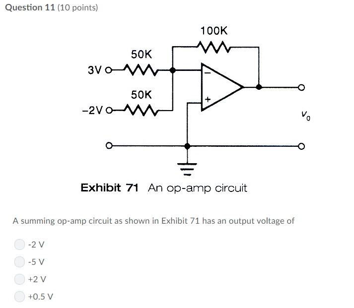 Question 11 (10 points) 100K 50K 50K 0 Exhibit 71 An op-amp circuit A summing op-amp circuit as shown in Exhibit 71 has an output voltage of 2 V -5 V +2 V +0.5 V