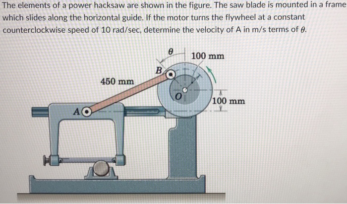 The elements of a power hacksaw are shown in the figure. The saw blade is mounted in a frame which slides along the horizontal guide. If the motor turns the flywheel at a constant counterclockwise speed of 10 rad/sec, determine the velocity of A in m/s terms of θ. 100 mm 450 mm 100 mm