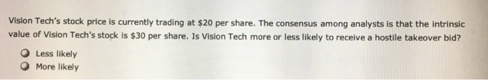 Vision Techs stock price is currently trading at $20 per share. The consensus among analysts is that the intrinsic value of Vision Techs stock is $30 per share. Is Vision Tech more or less likely to receive a hostile takeover bid? O Less likely O More likely