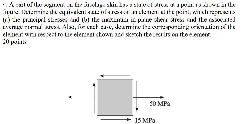 4. A part of the segment on the fuselage skin has a state of stress at a point as shown in the figure. Determine the equivalent state of stress on an element at the point, which represents (a) the principal stresses and (b) the maximum in-plane shear stress and the associated average normal stress. Also, for each case, determine the corresponding orientation of the element with respect to the element shown and sketch the results on the element. 20 points 50 MPa 15 MPa