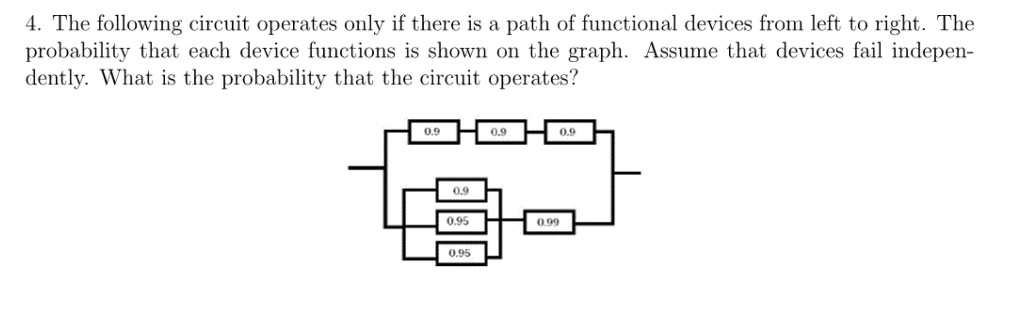 e following circuit operates only f there is a path of functional devices from left to right. probability that each device functions is shown on the graph. Assume that devices fail indepen dently. What is the probability that the circuit operates? 0.9 0.9 0.9 0.9 0.95 0.99 0.95
