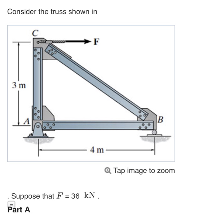 Consider the truss shown in 3 m 4 m Q Tap image to zoom Suppose that F 36 kN Part A