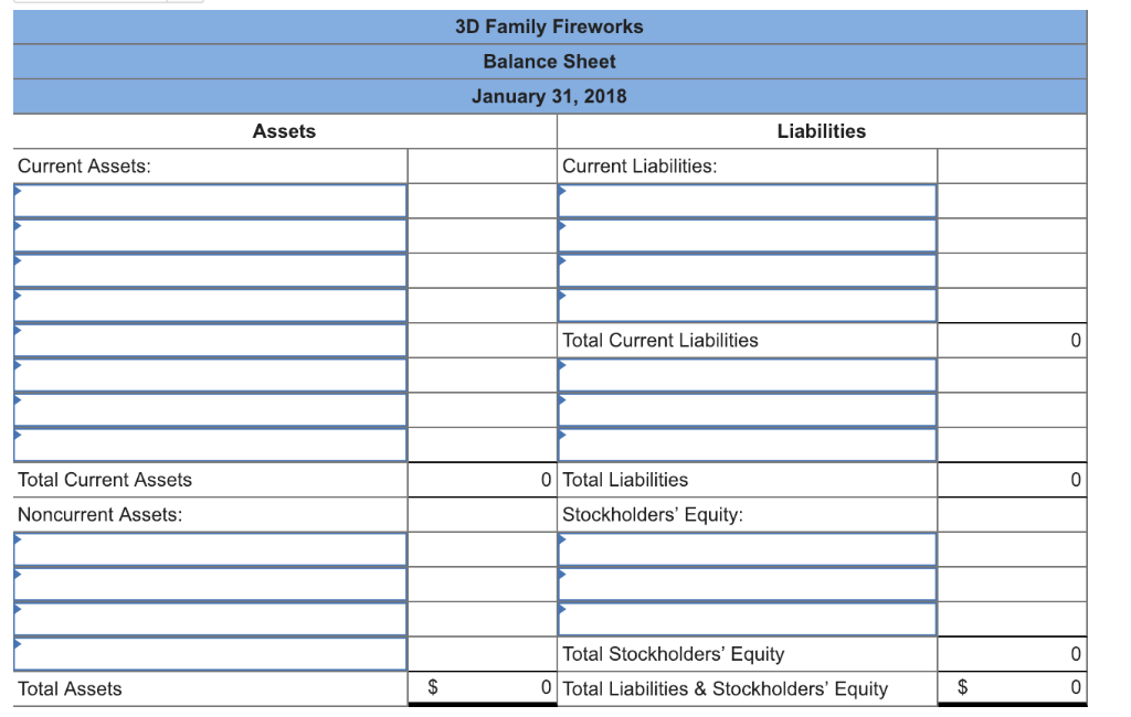 3D Family Fireworks Balance Sheet January 31, 2018 Assets Liabilities Current Assets Current Liabilities Total Current Liabil