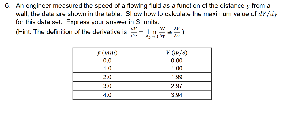 An engineer measured the speed of a flowing fluid as a function of the distance y from a wall; the data are shown in the table. Show how to calculate the maximum value of dV/dy for this data set. Express your answer in SI units. (Hint: The definition of the derivative is - lim AVAV 6. y (mm) 0.0 1.0 2.0 3.0 4.0 0.00 1.00 1.99 2.97 3.94