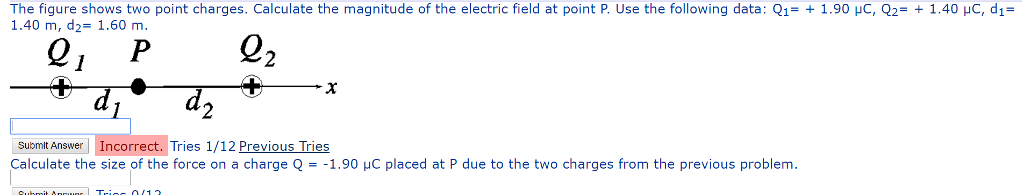 The figure shows two point charges. Calculate the magnitude of the electric field at point P. Use the following data: Q1-+ 1.90 μC, Q2-+ 1.40 μ。 , d,- 1.40 m, d2-1.60 m. submit Answer Incorrect. Tries 1/12 Previous Tries Calculate the size of the force on a charge Q--1 .90 μC placed at P due to the two charges from the previous problem.