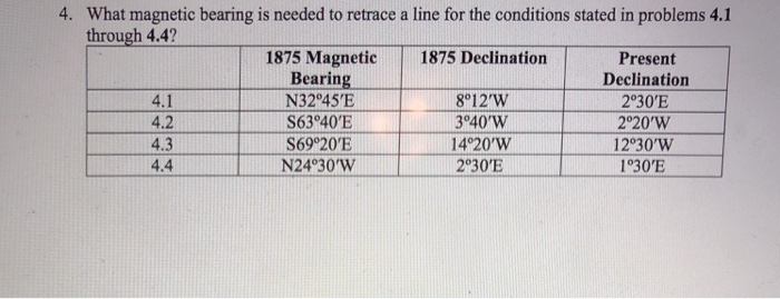 4. What magnetic bearing is needed to retrace a line for the conditions stated in problems 4.1 through 4.4 1875 Magnetic 1875