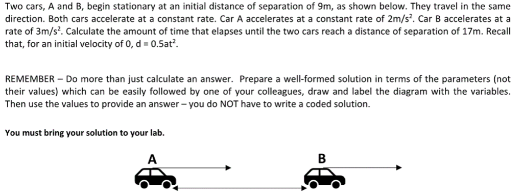 Two cars, A and B, begin stationary at an initial distance of separation of 9m, as shown below. They travel in the same direction. Both cars accelerate at a constant rate. Car A accelerates at a constant rate of 2m/s2. Car B accelerates at a rate of 3m/s2. Calculate the amount of time that elapses until the two cars reach a distance of separation of 17m. Recall that, for an initial velocity of 0, d 0.5at2 REMEMBER Do more than just calculate an answer. Prepare a well-formed solution in terms of the parameters (not their values) which can be easily followed by one of your colleagues, draw and label the diagram with the variables. Then use the values to provide an answer-you do NOT have to write a coded solution. You must bring your solution to your lab.