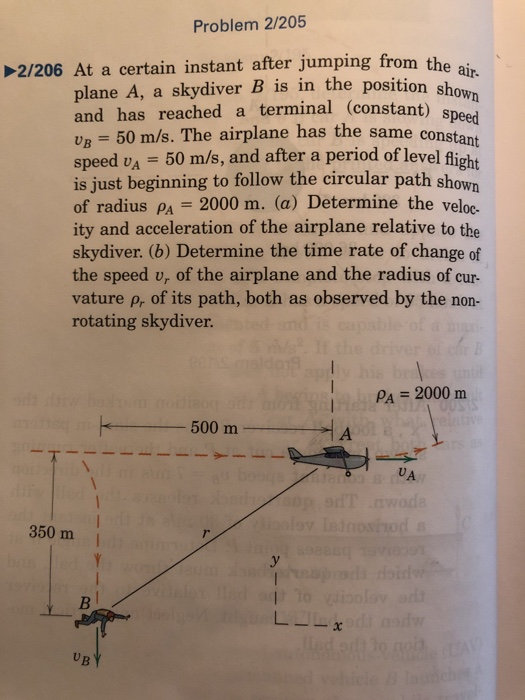 Problem 2/205 the air 2/206 At a certain instant after jumping from the plane A, a skydiver B is in the posion and has reached a terminal (constant) Un = 50 m/s. The airplane has the same constant speed vA 50 m/s, and after a period of level light is just beginning to follow the circular path shown of radius PA 2000 m. (a) Determine the veloc- ity and acceleration of the airplane relative to the skydiver. (b) Determine the time rate of change of the speed v, of the airplane and the radius of cur- vature p, of its path, both as observed by the non- rotating skydiver. speed Pa = 2000 m 500 m I A UA 350 m