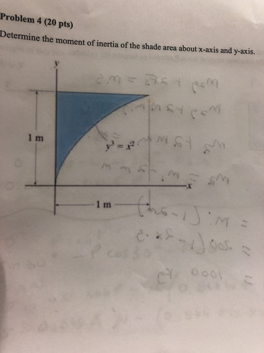 Problem 4 (20 pts) Determine the moment of inertia of the shade area about x-axis and y-axis. vi 1 m