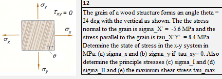 12 Txy 0 The grain of a wood structure forms an angle theta- 24 deg with the vertical as shown. The the stress normal to the grain is sigma-X--5.6 MPa and the stress parallel to the grain is tau_X -8.4 MPa. Determine the state of stress in the x-y system in MPa: (a) sigma x and (b) sigma y if tau xy-0. Also determine the principle stresses (c) sigma_I and (d) sigma II and (e) the maximum shear stress tau _max.