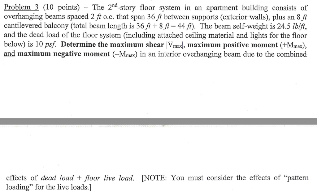 Problem 3 (10 points) - The 2nd-story floor system in an apartment building consists of overhanging beams spaced 2 ft o.c. th