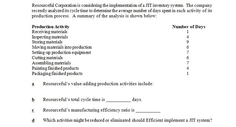Resourceful Corporation is considering the implementation of a JIT inventory system. The company recently analyzed its cycle time to determine the average number of days spent in each activity of its production process. A summary of the analysis is shown below: Production Activity Receiving materials Inspecting materials Storing materials Moving materials into production Setting-up production equipment Cutting materials Assembling materials Painting finished products Packaging finished products Number of Davs 4 4 Resourcefuls value-adding production activiti es include b Resourcefuls total cycle time is c Resourcefuls manufacturing efficiency ratio is d Which activities might bereduced or eliminated should Efficient implement a JIT system? days