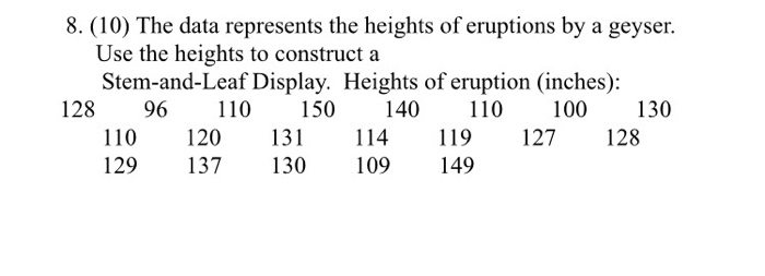 8. (10) The data represents the heights of eruptions by a geyser. Use the heights to construct a Stem-and-Leaf Display. Heights of eruption (inches): 128 96110 150 140110 100130 110 120 13 114 19 127128 129 137 130 109 149