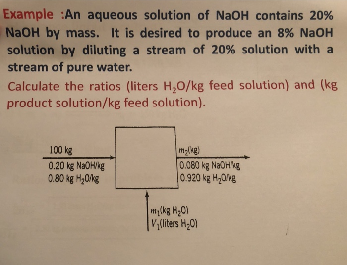 Example :An aqueous solution of NaOH contains 20% NaOH by mass. It is desired to produce an 8% NaOH solution by diluting a stream of 20% solution with a stream of pure water. Calculate the ratios (liters H2O/kg feed solution) and (kg product solution/kg feed solution). 100 kg 0.20 kg Na0H/kg 0.80 kg H20lkg m2lkg) 0.080 kg Na0Hlkg 0.920 kg H20/kg my(kg H20) V liters H20)