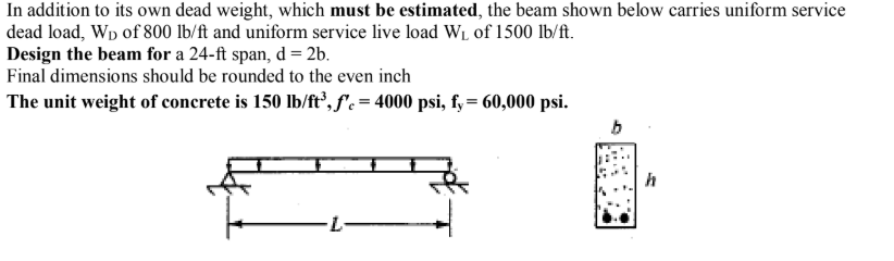 In addition to its own dead weight, which must be estimated, the beam shown below carries uniform service dead load, Wo of 80