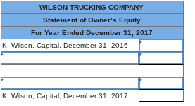 WILSON TRUCKING COMPANY Statement of Owners Equity For Year Ended December 31, 2017 K. Wilson, Capital, December 31, 2016 K. Wilson, Capital, December 31, 2017