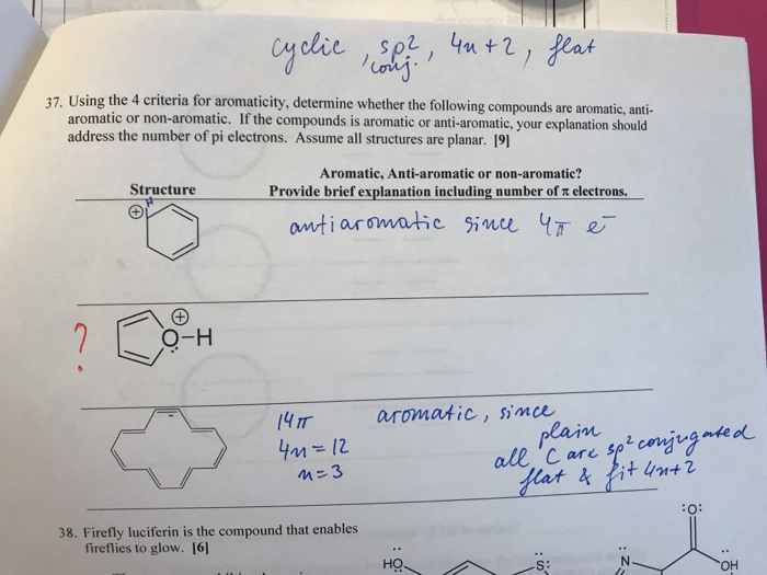 37. Using the 4 criteria for aromaticity, determine whether the following compounds are aromatic, anti- aromatic or non-aroma