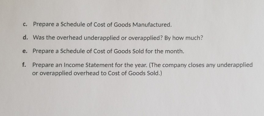 Prepare a Schedule of Cost of Goods Manufactured. Was the overhead underapplied or overapplied? By how much? Prepare a Schedu