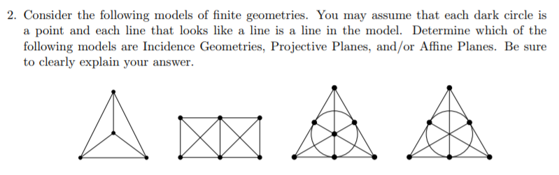 2. Consider the following models of finite geometries. You may assume that each dark circle is a point and each line that loo