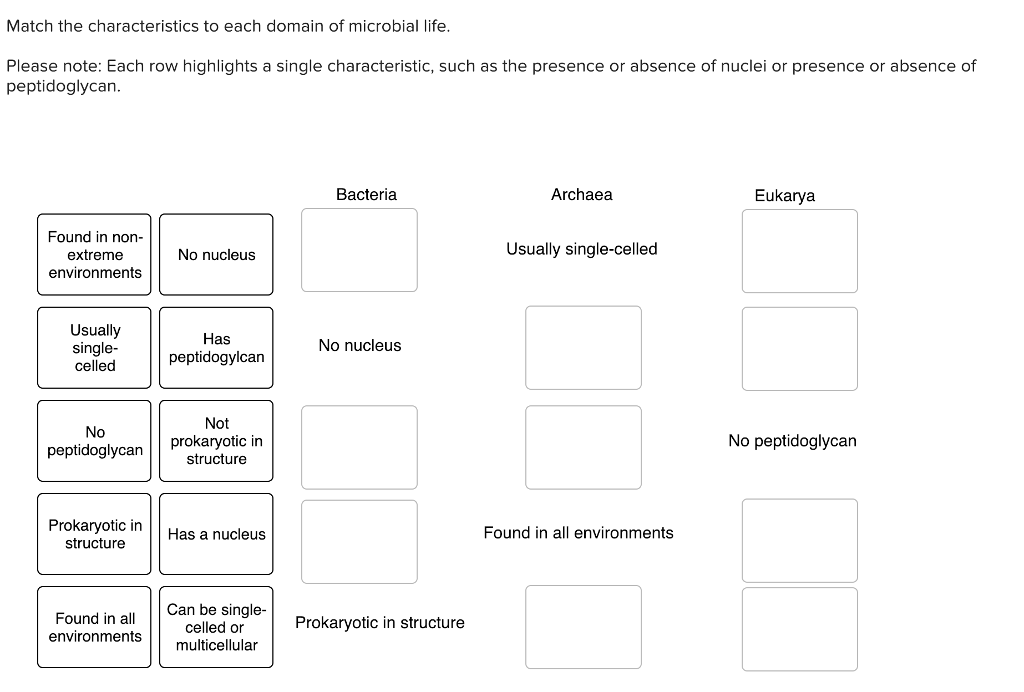 Match the characteristics to each domain of microbial life. Please note: Each row highlights a single characteristic, such as the presence or absence of nuclei or presence or absence of peptidoglycan Bacteria Archaea Eukarya Found in non- extreme environments No nucleus Usually single-celled Usually single- celled Has peptidogylcan No nucleus Not No No peptidoglycan peptidoglycanprokaryotic in Prokaryotic inHas a nucleus Found in all environments Can be single- celled or Found in all environmentsmulticellular Prokaryotic in structure