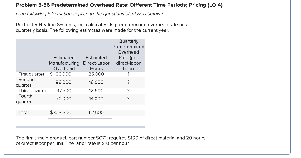 Problem 3-56 Predetermined Overhead Rate; Different Time Periods; Pricing (LO 4) [The following information applies to the questions displayed below.] Rochester Heating Systems, Inc. calculates its predetermined overhead rate on a quarterly basis. The following estimates were made for the current year Quarterly Predetermined Overhead Rate (per Estimated Manufacturing Direct-Labor direct-labor Hours 25,000 Estimated Overhead hour) First quarter $100,000 Second 96,000 16,000 12,500 14,000 quarter Third quarter 37,500 Fourth 70,000 quarter Total $303,500 67,500 The firms main product, part number SC71, requires $100 of direct material and 20 hours of direct labor per unit. The labor rate is $10 per hour