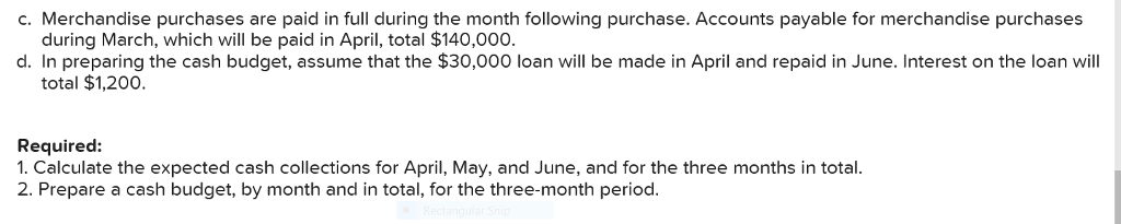 c. Merchandise purchases are paid in full during the month following purchase. Accounts payable for merchandise purchases during March, which will be paid in April, total $140,000 d. In preparing the cash budget, assume that the $30,000 loan will be made in April and repaid in June. Interest on the loan will total $1,200. Required: 1. Calculate the expected cash collections for April, May, and June, and for the three months in total 2. Prepare a cash budget, by month and in total, for the three-month period.