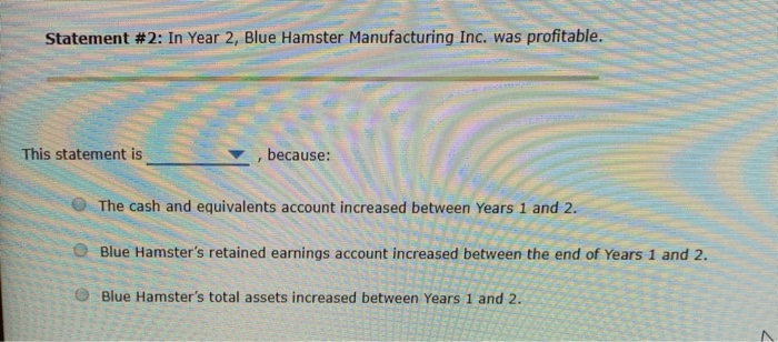 Statement #2: In Year 2, Blue Hamster Manufacturing Inc. was profitable. This statement is because: The cash and equivalents
