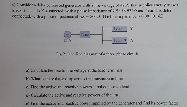 4) Consider a delta connected generator with a line voltage of 480V that supplies energy to two loads: Load 1 is Y-connected, with a phase impedance of 2.5£36.870 Ω and Load 2 is delta connected, with a phase impedance of 52-20° Ω. The line impedance is 0.09+j0.16Ω. Line Load 21 Δ Fig 2: One-line diagram of a three-phase circuit a) Calculate the line to line voltage at the load terminals. b) What is the voltage drop across the transmission line? c) Find the active and reactive powers supplied to each load. d) Calculate the active and reactive powers of the line. e) Find the active and reactive power supplied by the generator and find its power factor