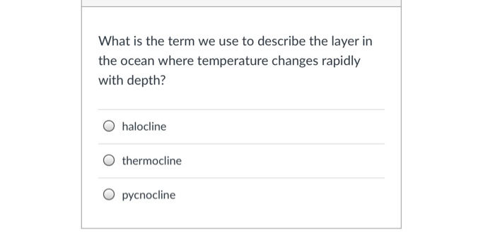What is the term we use to describe the layer in the ocean where temperature changes rapidly with depth? O halocline O thermo