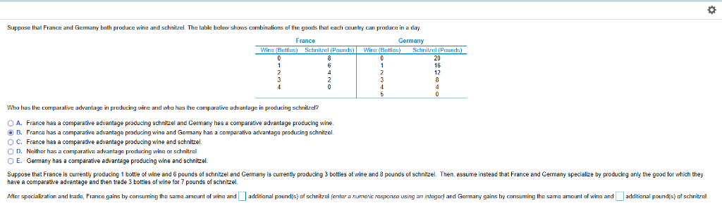 Suppose that France and Gernany both produce wine and schrel The tabk belaw shows combinations of the gaots that each country can produce in a day France Germany Wine (Bottles) Schnitzel (Pounds) Winc (Bottles 20 16 Who has the comparative advatage in producing wine arid wha has the comparative advantage in producing schrilzel? O A. France has a comparative advantage producing schnitzel and Germany has a comparative advantage producing wine. ⓔ France has a comparatns advantage producing wine and Germany has a comparative advanta a producing schnitzel O C. France has a comparetve advantage producing wine and schnitzel O D. Neither has a comparative advantage producing wine or schnitzel OE. Germany has a comparative advantage producing wine and schnitzel. Suppose that France is currently producing 1 bottle of wine and 6 pounds of schnitzel and Germany is curmrently producing 3 bottles of wine and 8 pounds of schnitzel. Then, assume instead that France and Germany specialize by producing only the good for which they have a comparative advantage and then trade 3 bottles of wine for 7 pounds of schnitzel. espaciazation and trade, France gains by consuming the same amount of wine andaditianal pounds) af schnitzel (enter a ueric rasponse using an int) and Germany gains by cansuming the sama amount of wine andadditianal pound(s) of schnitre