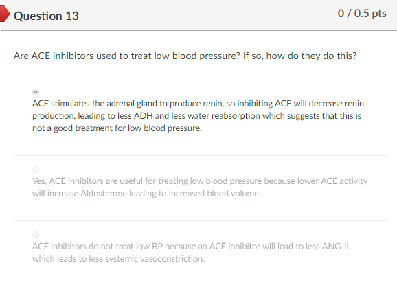 Question 13 0/0.5 pts Are ACE inhibitors used to treat low blood pressure? If so, how do they do this? ACE stimulates the adrenal gland to produce renin, so inhibiting ACE will decrease renin production, leading to less ADH and less water reabsorption which suggests that this is not a good treatment for low blood pressure. Yes, ACE inhibitors are useful for treating low blood pressure because lower ACE activity will increase Aldosterone leading to increased blood volume ACE inhibitors do not treat low BP because an ACE inhibitor will lead to less ANG-II which leads to less systemic vasoconstriction.