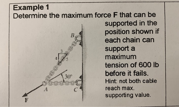 Example1 Determine the maximum force F that can be supported in the position shown if each chain can support a maximum tension of 600 lb before it fails. Hint: not both cable reach max. supporting value. 30