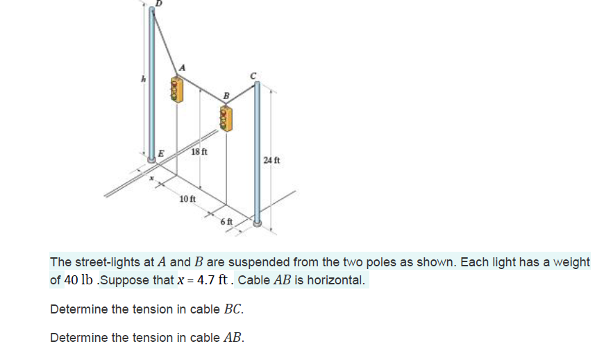 18ft 2A ft 10ft 6ft The street-lights at A and B are suspended from the two poles as shown. Each light has a weight of 40 lb .Suppose that x 4.7 ft. Cable AB is horizontal. Determine the tension in cable BC Determine the tension in cable AB.