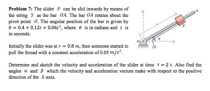 Problem 7: The slider P can be slid inwards by means of the string S as the bar OA. The bar OA rotates about the pivot point O. The angular position of the bar is given by θ-0.4 + 0.12t+ 0.06t, where θ is in radians and t is in seconds. Initially the slider was at r 0.8 m, then someone started to pull the thread with a constant acceleration of 0.05 m/s Determine and sketch the velocity and acceleration of the slider at time t 2 s. Also find the angles α and β which the velocity and acceleration vectors make with respect to the positive direction of the X-axis.