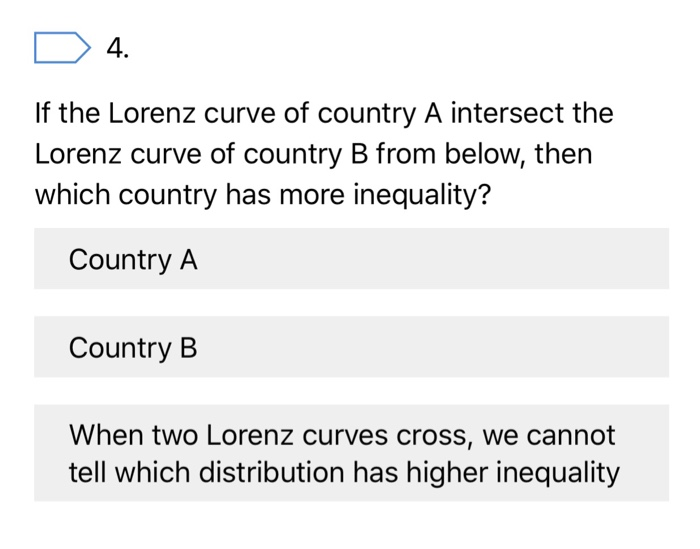 4. If the Lorenz curve of country A intersect the Lorenz curve of country B from below, then which country has more inequality? Country A Country B When two Lorenz curves cross, we cannot tell which distribution has higher inequality