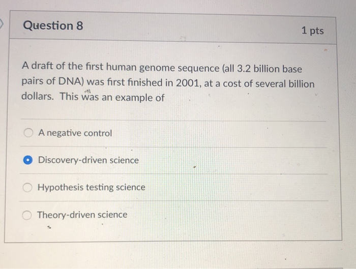 Question 8 1 pts A draft of the first human genome sequence (all 3.2 billion base pairs of DNA) was first finished in 2001, at a cost of several billion dollars. This was an example of OA negative control Discovery-driven science Hypothesis testing science Theory-driven science O