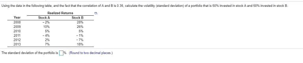 Using the data in the following table, and the fact that the correlation of A and B is 0.35, calculate the volatility (standard deviation) of a portfolio that is 50% invested in stock A and 50% invested in stock B Realized Returns Year 2008 2009 2010 2011 2012 2013 Stock A -2% 10% 5% -4% 2% 7% Stock B 28% 26% 5% 18% The standard deviation of the portfolio is Џ96 (Round to two decimal places)