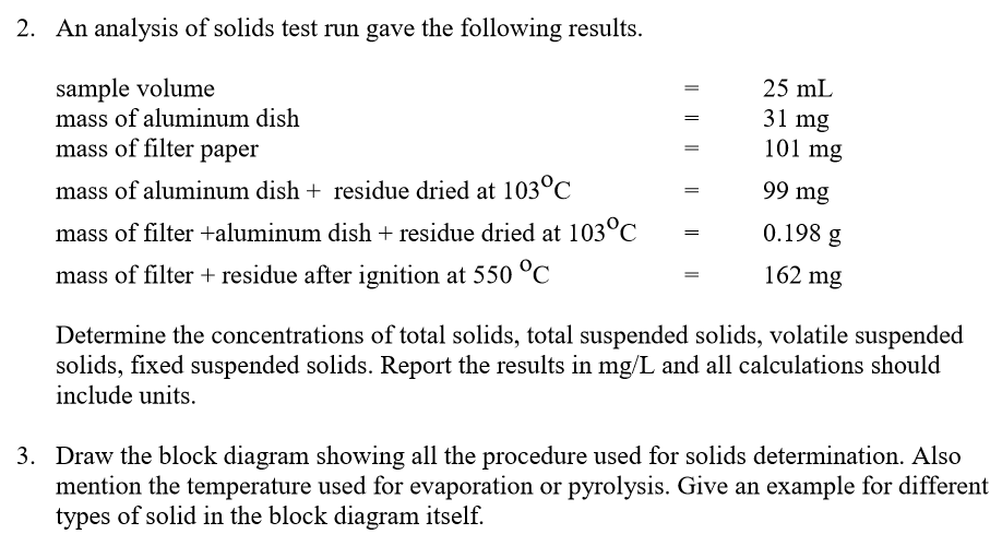 An analysis of solids test run gave the following results sample volume mass of aluminum dish mass of filter paper mass of al