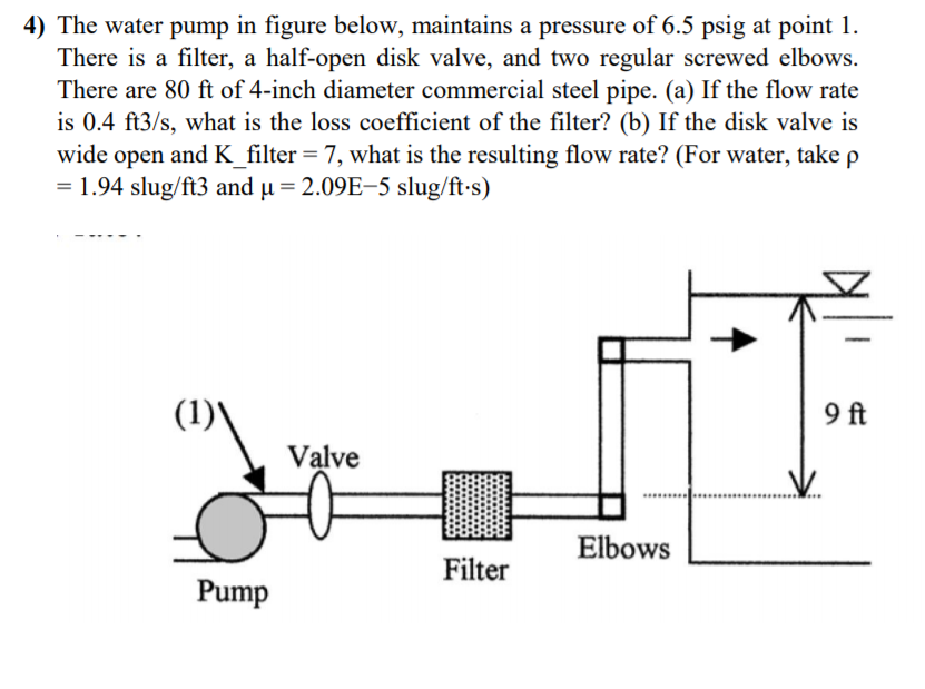 4) The water pump in figure below, maintains a pressure of 6.5 psig at poin There is a filter, a half-open disk valve, and two regular screwed elbows. There are 80 ft of 4-inch diameter commercial steel pipe. (a) If the flow rate is 0.4 ft3/s, what is the loss coefficient of the filter? (b) If the disk valve is wide open and K-filter-7, what is the resulting flow rate? (For water, take ρ -1.94 slug/ft3 and μ-2.09E-5 slug/ft-s) 9 ft Valve Elbows Filter Pump