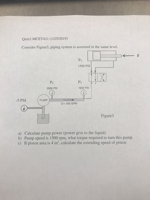 Quiz2 MCET421 (1/25/2019) Consider Figure3, piping system is assumed in the same level. P4 1500 PSI P2 2000 PSI 1800 PSI -5 PSI PUMP 100 GPM Figure3 a) Calculate pump power (power give to the liquid) b) Pump speed is 1500 rpm, what torque required to turn this pump c) If piston area is 4 in2, calculate the extending speed of piston