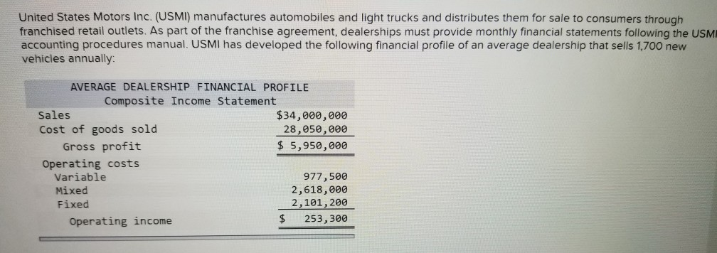 United States Motors Inc. (USMI) manufactures automobiles and light trucks and distributes them for sale to consumers through franchised retail outlets. As part of the franchise agreement, dealerships must provide monthly financial statements following the USMI accounting procedures manual. USMI has developed the following financial profile of an average dealership that sells 1,700 new vehicles annually AVERAGE DEALERSHIP FINANCIAL PROFILE Composite Income Statement Sales Cost of goods sold $34,000,000 28,856,00e $ 5,950,000 Gross profit Operating costs Variable Mixed Fixed 977,500 2,618,000 2,101,200 $253, 300 Operating income