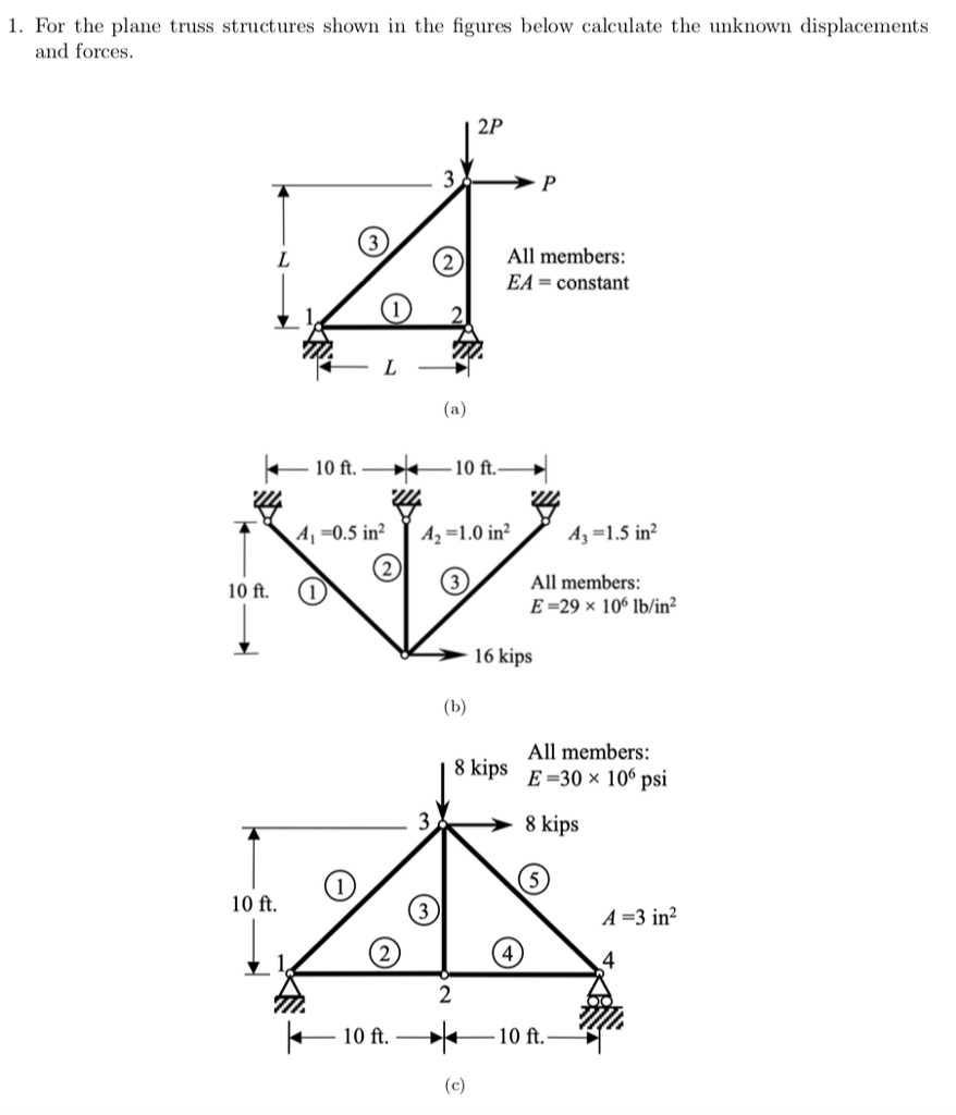 1. For the plane truss structures shown in the figures below calculate the unknown displacements and forces 2P 2 All members: EA = constant 10 ft. 10 ft A -0.5 in A2-1.0 in2A-1.5 in2 All members: E-29 x 106 lb/in2 10 ft. 1 16 kips All members: 8 kips E 30 x 106 psi 8 kips 10 ft. A -3 in2 4 トー10 ft. 10 ft.