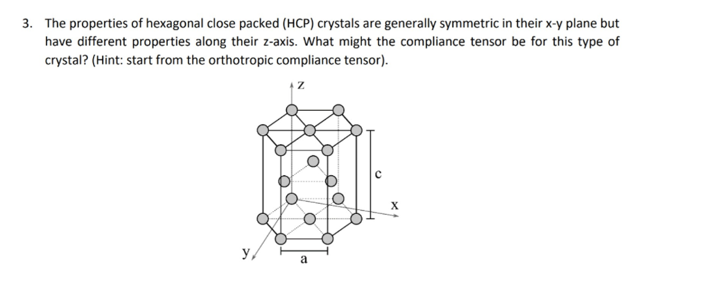 3. The properties of hexagonal close packed (HCP) crystals are generally symmetric in their x-y plane but have different properties along their z-axis. What might the compliance tensor be for this type of crystal? (Hint: start from the orthotropic compliance tensor)
