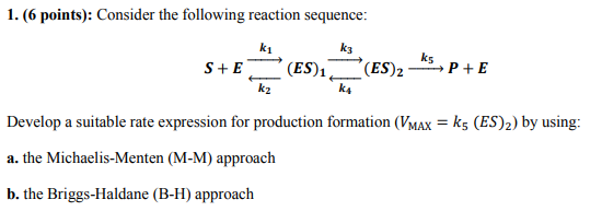 1. (6 points): Consider the following reaction sequence k1 k3 ks k2 k4 Develop a suitable rate expression for production form