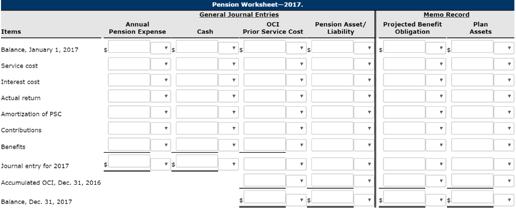 Pension Worksheet-2017. eneral Journal Entrie em ecor Annual Pension Expense Pension Asset/Projected Benefit OCI Prior Servic